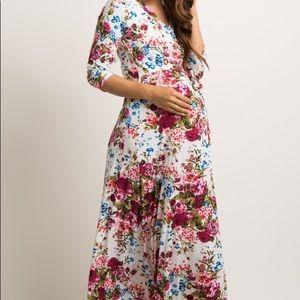 Pinkblush Ivory Floral Maternity Maxi Dress